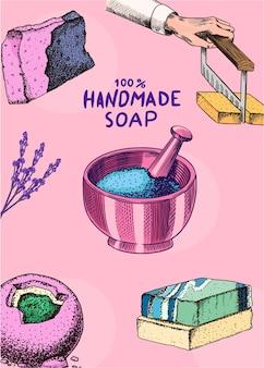 Hand drawn organic handmade soap