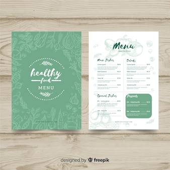 Hand drawn organic menu template