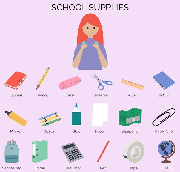 Hand drawn organic school supplies sets