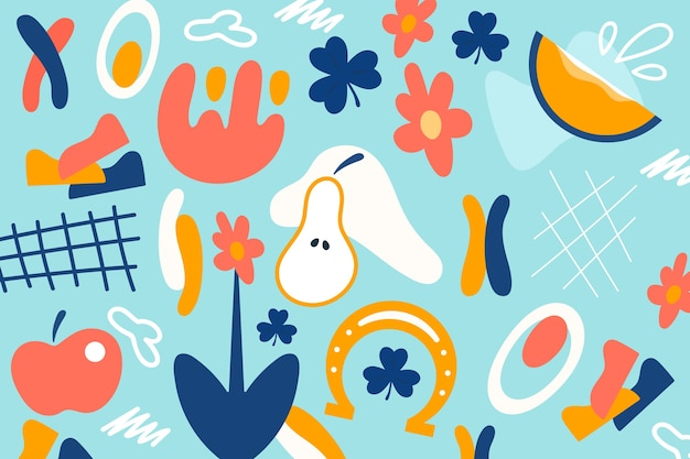 Hand-drawn organic shapes background style