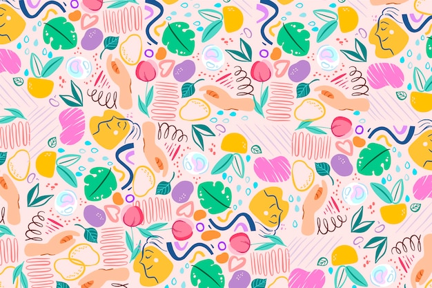 Hand drawn organic shapes background