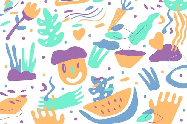 Hand-drawn organic shapes background