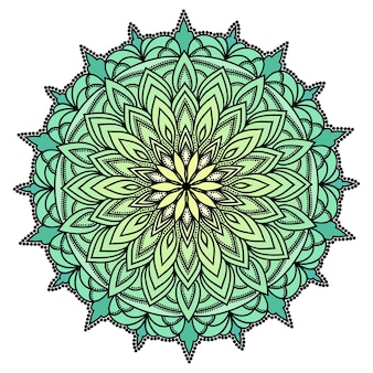 Hand drawn oriental ornamental ethnic lace round mandala