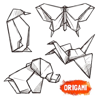 Hand drawn origami figures set