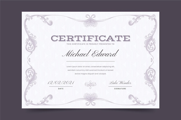 Hand drawn ornamental certificate template