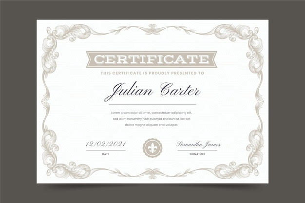 Hand drawn ornamental certificate