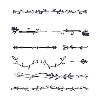 Hand-drawn ornamental divider collection