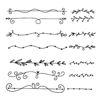 Коллекция рисованной декоративных разделителей