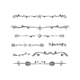 Hand-drawn ornamental divider set