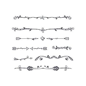 Set divisori ornamentali disegnati a mano