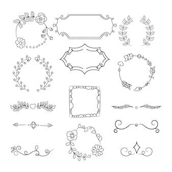 手描きの装飾要素コレクション