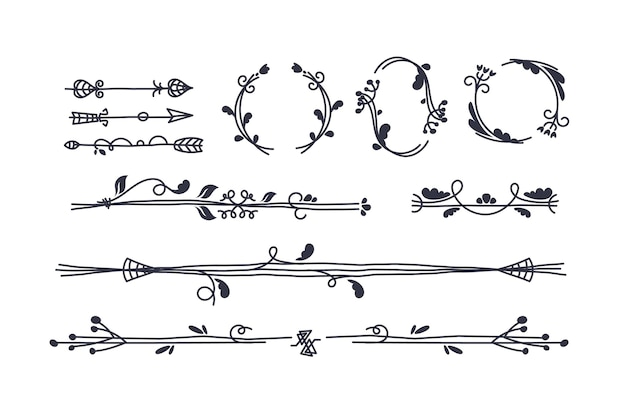 Hand-drawn ornamental element collection