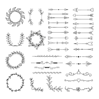 Коллекция рисованной декоративных элементов