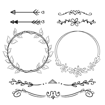 Hand drawn ornamental element pack