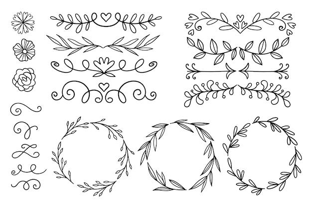 手描きの装飾用要素パック