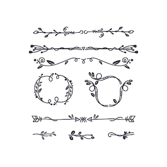 Hand-drawn ornamental element set
