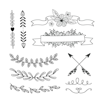 Hand drawn ornamental element set