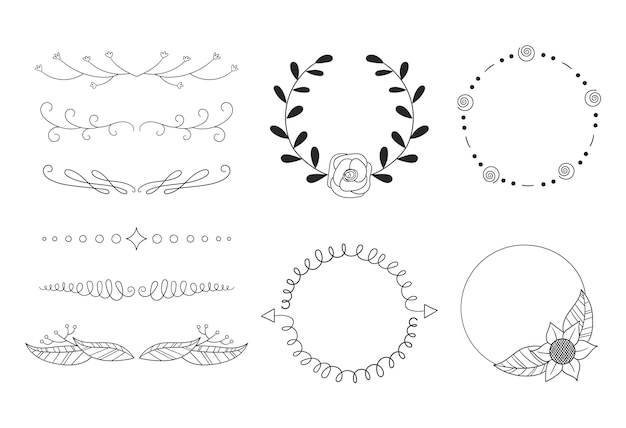 Insieme di elementi ornamentali disegnati a mano
