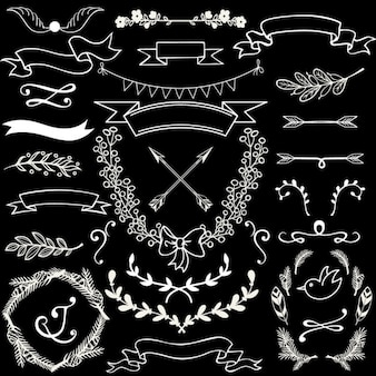 Hand drawn ornamental elements on a black background