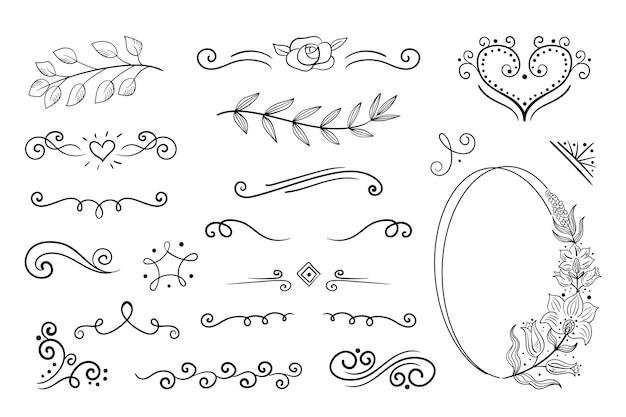Elementi ornamentali disegnati a mano
