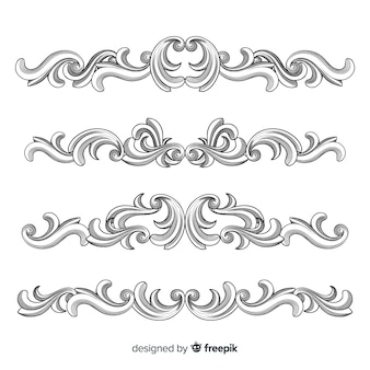 Hand drawn ornamental flower borders