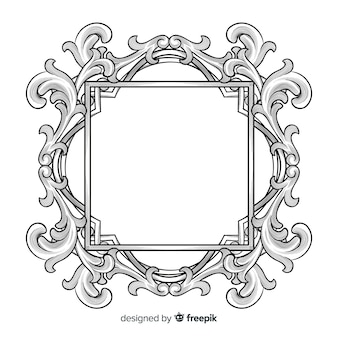 Hand drawn ornamental flower frame