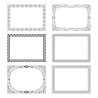 Hand-drawn ornamental frame collection