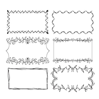 Hand drawn ornamental frame set