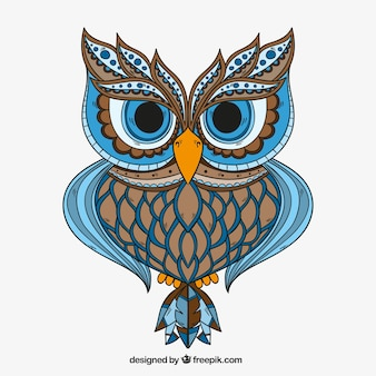 Hand drawn ornamental owl