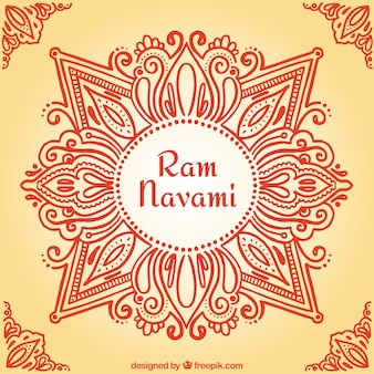 Hand-drawn ornamental ram navami background