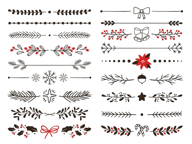 Hand drawn ornamental winter dividers. snowflakes borders, christmas holiday decor and floral ornate dividers