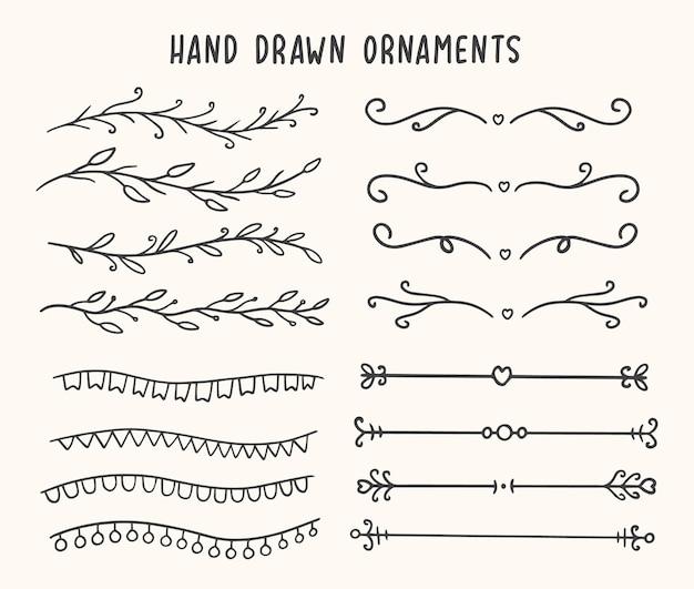 Hand drawn ornaments border element