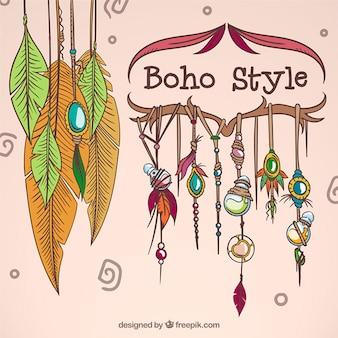 Boho 스타일의 손으로 그린 장식품