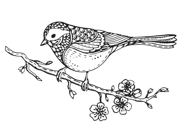 Hand drawn ornate bird on sakura branch with flowers