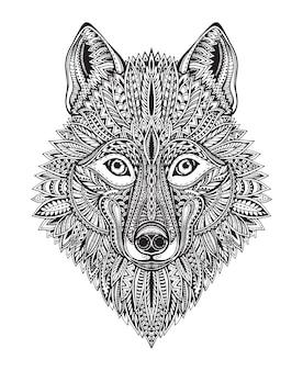 Рисованной богато украшенный рисунок графического черно-белого волка лицо. иллюстрация для футболок, тату, раскраски и прочего