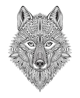 Hand drawn ornate doodle graphic black and white wolf face.  illustration for t-shirts , tattoo, coloring book and other things