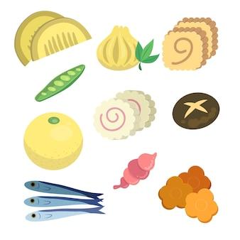 手描きおせち料理の具材