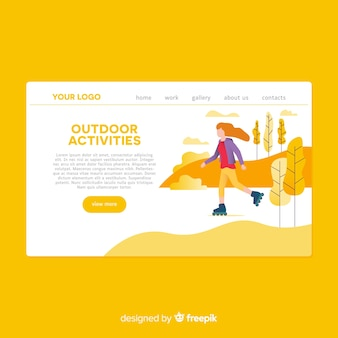 Hand drawn outdoor activities landing page