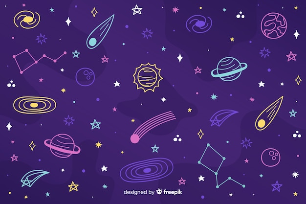 Hand drawn outer space background