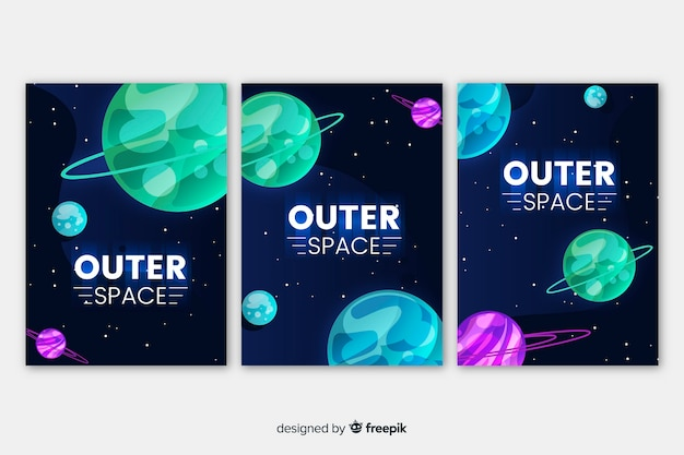 Hand drawn outer space banner