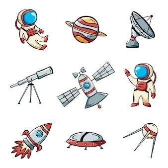 낙서 스타일의 우주 비행사 위성 로켓과 행성으로 설정된 손으로 그린 우주 공간 아이콘