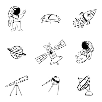 Hand drawn outer space icon set with astronaut satellite rocket and planets in doodle style