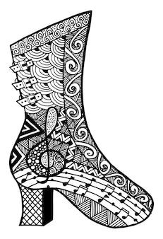 손으로 그린 개요 장식용 부츠 신발 그림