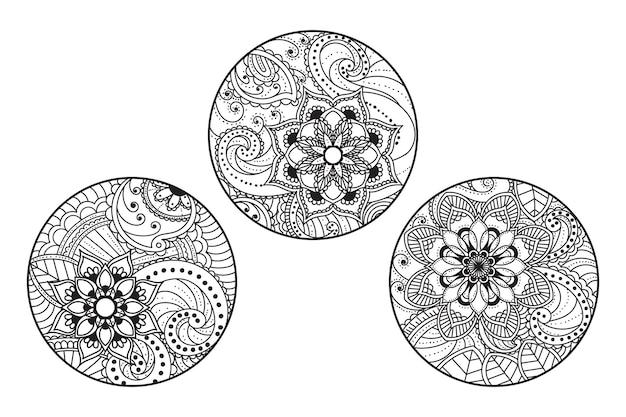 Hand drawn outline round floral pattern illustration set