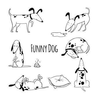 面白い犬の手描きのアウトラインセット