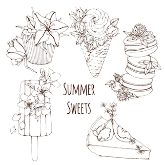 Hand drawn outline summer desserts with flowers