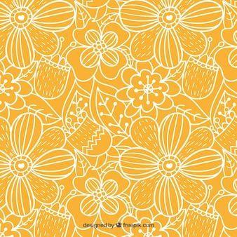Hand drawn outlined flowers pattern