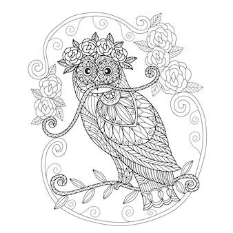 手描きフクロウとバラ