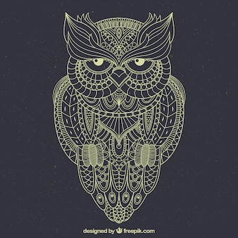 Hand drawn owl background in ornamental style