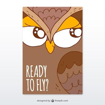 Hand drawn owl card
